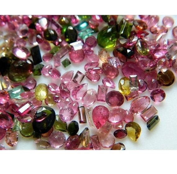 14 Pieces 6mm To 9mm Each Tourmaline Faceted Mixed Shaped Pink And Green Color Loose Gemstones Sku-trf1