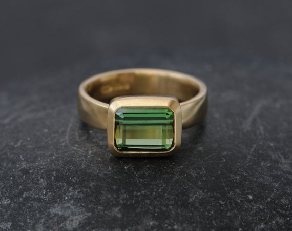 Green Tourmaline Ring Green Gem Engagement Ring Solitaire Tourmaline Ring Emerald Cut Tourmaline In 18k Gold  Made To Order