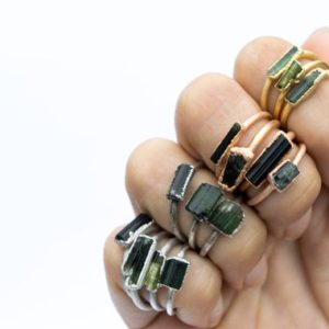 Raw tourmaline ring | Green tourmaline crystal ring | Electroformed tourmaline ring | Raw stone ring | Raw tourmaline jewelry | Natural genuine Green Tourmaline rings, simple unique handcrafted gemstone rings. #rings #jewelry #shopping #gift #handmade #fashion #style #affiliate #ad