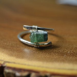 Raw Indicolite Tourmaline Ring in Sterling Silver, 14k Gold Fill // October Birthstone, 8th Anniversary // BohoChic // Blue,Green Tourmaline | Natural genuine Gemstone rings, simple unique handcrafted gemstone rings. #rings #jewelry #shopping #gift #handmade #fashion #style #affiliate #ad