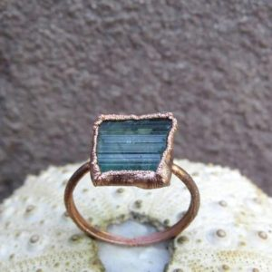 Shop Green Tourmaline Jewelry! Rough green tourmaline copper electroformed ring | Natural genuine Green Tourmaline jewelry. Buy crystal jewelry, handmade handcrafted artisan jewelry for women.  Unique handmade gift ideas. #jewelry #beadedjewelry #beadedjewelry #gift #shopping #handmadejewelry #fashion #style #product #jewelry #affiliate #ad