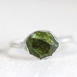 Shop Green Tourmaline Rings! Green Tourmaline Ring – Size 5 1/4 – Silver Tourmaline Ring – October Birthstone Jewelry – Crystal Ring – Solid Silver Ring | Natural genuine Green Tourmaline rings, simple unique handcrafted gemstone rings. #rings #jewelry #shopping #gift #handmade #fashion #style #affiliate #ad