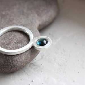 Shop Green Tourmaline Rings! Unique Blue Green Tourmaline Silver Ring Tall Round Teal Cabochon Setting Two Circles Lucky Figure Eight Eternity Meaningful Gift – Magic 8 | Natural genuine Green Tourmaline rings, simple unique handcrafted gemstone rings. #rings #jewelry #shopping #gift #handmade #fashion #style #affiliate #ad