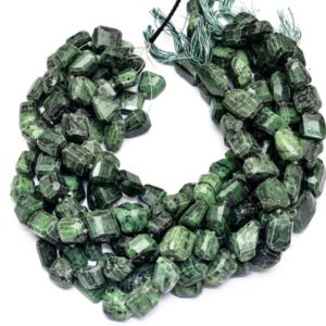 Shop Ruby Zoisite Chip & Nugget Beads! Green Zoisite 16mm-18mm Faceted Nugget Beads | Zoisite Gemstone Step Cut Tumbled | Natural Semi Precious Beads for Jewelry | 15inch Strand | Natural genuine chip Ruby Zoisite beads for beading and jewelry making.  #jewelry #beads #beadedjewelry #diyjewelry #jewelrymaking #beadstore #beading #affiliate #ad