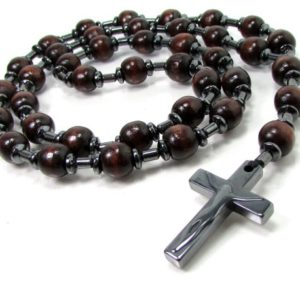 Shop Hematite Necklaces! Wood & Hematite Handmade Rosary, Mens Women Rosary, Rosary, Mens Cross Necklace, Wood Rosary, Wood Necklace | Natural genuine Hematite necklaces. Buy handcrafted artisan men's jewelry, gifts for men.  Unique handmade mens fashion accessories. #jewelry #beadednecklaces #beadedjewelry #shopping #gift #handmadejewelry #necklaces #affiliate #ad