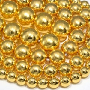 Shiny Gold Tone Hematite Loose Beads Round Shape 6mm 8mm 10mm 12mm | Natural genuine round Hematite beads for beading and jewelry making.  #jewelry #beads #beadedjewelry #diyjewelry #jewelrymaking #beadstore #beading #affiliate #ad