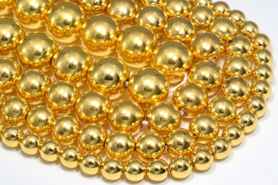 Natural 18k Gold Hematite Loose Beads Round Shape 6mm 8mm 10mm 12mm