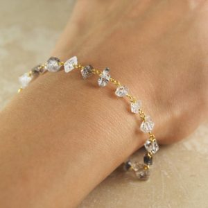 Shop Herkimer Diamond Bracelets! Gold Bracelet, Birthstone Diamond Bracelet, Embers Jewellery, Herkimer Diamond, Nugget Bracelet, Gifts For Girlfriend, Delicate Bracelet | Natural genuine Herkimer Diamond bracelets. Buy crystal jewelry, handmade handcrafted artisan jewelry for women.  Unique handmade gift ideas. #jewelry #beadedbracelets #beadedjewelry #gift #shopping #handmadejewelry #fashion #style #product #bracelets #affiliate #ad