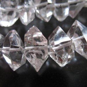 Shop Herkimer Diamond Beads! 5-50 pcs / 6-8, 8-10, or 10-12 mm Drilled Herkimer Diamond Herkimer Nugget Bead Crystal Quartz / Double Terminated, april birthstone s m l | Natural genuine chip Herkimer Diamond beads for beading and jewelry making.  #jewelry #beads #beadedjewelry #diyjewelry #jewelrymaking #beadstore #beading #affiliate #ad