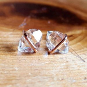 Herkimer Diamond Stud Earrings, Raw Crystal Stud Earrings, 14k Rose Gold Earrings, Herkimer Diamond Studs, Rose Gold Herkimer Raw Stone Stud | Natural genuine Herkimer Diamond earrings. Buy crystal jewelry, handmade handcrafted artisan jewelry for women.  Unique handmade gift ideas. #jewelry #beadedearrings #beadedjewelry #gift #shopping #handmadejewelry #fashion #style #product #earrings #affiliate #ad