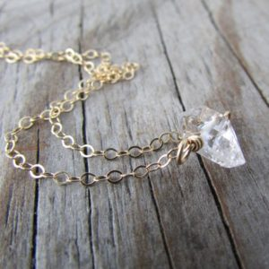Shop Herkimer Diamond Necklaces! Herkimer Diamond Necklace, Big, Raw Herkimer Diamond, Gold Chain, Choker | Natural genuine Herkimer Diamond necklaces. Buy crystal jewelry, handmade handcrafted artisan jewelry for women.  Unique handmade gift ideas. #jewelry #beadednecklaces #beadedjewelry #gift #shopping #handmadejewelry #fashion #style #product #necklaces #affiliate #ad