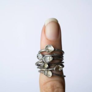 Shop Herkimer Diamond Rings! Raw crystal ring | Herkimer diamond ring | Electroformed crystal ring | Crystal quartz ring | Rock quartz crystal statement ring | Natural genuine Herkimer Diamond rings, simple unique handcrafted gemstone rings. #rings #jewelry #shopping #gift #handmade #fashion #style #affiliate #ad