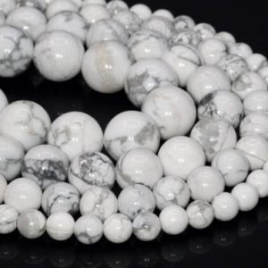 Shop Howlite Round Beads! Genuine Natural Howlite Loose Beads Round Shape 6mm 8mm 10mm 15mm | Natural genuine round Howlite beads for beading and jewelry making.  #jewelry #beads #beadedjewelry #diyjewelry #jewelrymaking #beadstore #beading #affiliate #ad