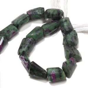 Shop Ruby Zoisite Bead Shapes! Huge Ruby Zoisite Step Cut Tumble, Ruby Zoisite Nugget Beads, Faceted Ruby Zoisite, 17mm To 20mm, 5 Inch Half Strand, SKU-AA65 | Natural genuine other-shape Ruby Zoisite beads for beading and jewelry making.  #jewelry #beads #beadedjewelry #diyjewelry #jewelrymaking #beadstore #beading #affiliate #ad
