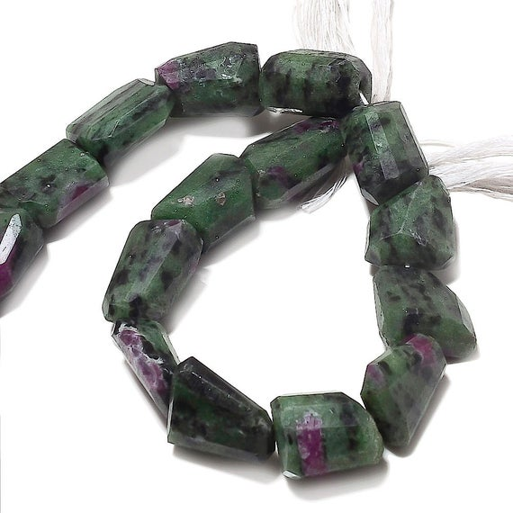 Huge Ruby Zoisite Step Cut Tumble, Ruby Zoisite Nugget Beads, Faceted Ruby Zoisite, 17mm To 20mm, 5 Inch Half Strand, Sku-aa65