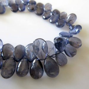 Shop Iolite Bead Shapes! Natural Smooth Iolite Pear Shaped Briolette Beads, 9 Inches Of Tiny Uniform Size Calibrated 5x8mm Iolite Beads, GDS765 | Natural genuine other-shape Iolite beads for beading and jewelry making.  #jewelry #beads #beadedjewelry #diyjewelry #jewelrymaking #beadstore #beading #affiliate #ad