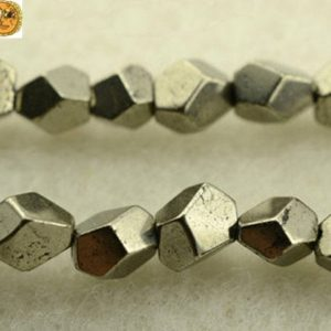 "Shop Pyrite Beads! Iron pyrite faceted nugget beads,golden brass beads,pyrite,natural,gemstone,diy beads,size for choice,15"" full strand 