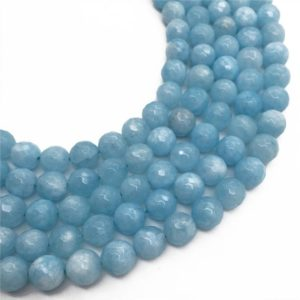 Shop Jade Faceted Beads! 10mm Faceted Light Blue Jade Beads, Gemstone Beads, Wholesale Beads | Natural genuine faceted Jade beads for beading and jewelry making.  #jewelry #beads #beadedjewelry #diyjewelry #jewelrymaking #beadstore #beading #affiliate #ad