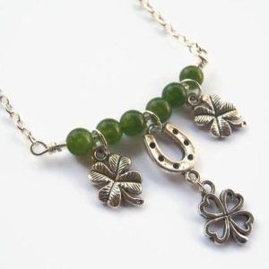 Lucky Charm Necklace, St. Patricks Day Necklace, 4 Leaf Clover, Minimalist Necklace, Green Jade Necklace, Luck, Irish Jewelry, Horseshoe | Natural genuine Jade necklaces. Buy crystal jewelry, handmade handcrafted artisan jewelry for women.  Unique handmade gift ideas. #jewelry #beadednecklaces #beadedjewelry #gift #shopping #handmadejewelry #fashion #style #product #necklaces #affiliate #ad