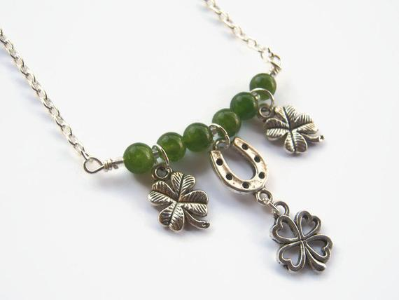Lucky Charm Necklace, St. Patricks Day Necklace, 4 Leaf Clover, Minimalist Necklace, Green Jade Necklace, Luck, Irish Jewelry, Horseshoe