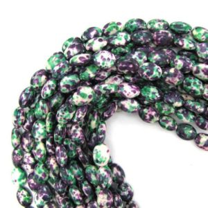 "14mm green purple jade flat oval beads 16"" strand 13048 