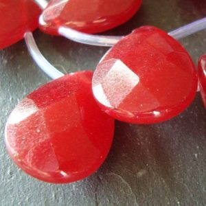 Shop Jade Beads! Jade Beads 20 x 15mm Cranberry Red Faceted Briolette Teardrops – 2 Pieces | Natural genuine beads Jade beads for beading and jewelry making.  #jewelry #beads #beadedjewelry #diyjewelry #jewelrymaking #beadstore #beading #affiliate #ad