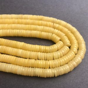 "Yellow Jade Heishi Disc Beads 6×1.5mm 7×1.5mm 15.5"" Strand 