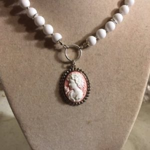 Shop Jade Pendants! Cameo Necklace – Silver Jewelry – White Jade Gemstone Jewellery – Pink Pendant – Luxe – Long | Natural genuine Jade pendants. Buy crystal jewelry, handmade handcrafted artisan jewelry for women.  Unique handmade gift ideas. #jewelry #beadedpendants #beadedjewelry #gift #shopping #handmadejewelry #fashion #style #product #pendants #affiliate #ad