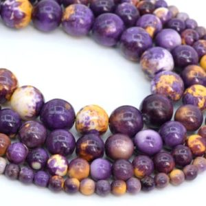 Purple & Yellow Rain Flower Jade Loose Beads Round Shape 6mm 8mm 10mm 12mm | Natural genuine beads Gemstone beads for beading and jewelry making.  #jewelry #beads #beadedjewelry #diyjewelry #jewelrymaking #beadstore #beading #affiliate #ad