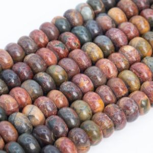 Shop Jasper Rondelle Beads! Genuine Natural Multicolor Picasso Jasper Loose Beads Rondelle Shape 10x5MM | Natural genuine rondelle Jasper beads for beading and jewelry making.  #jewelry #beads #beadedjewelry #diyjewelry #jewelrymaking #beadstore #beading #affiliate #ad