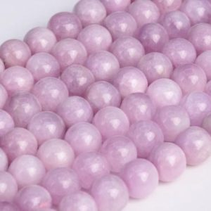 Shop Kunzite Beads! Genuine Natural Kunzite Loose Beads Grade AA Round Shape 6mm 8-9mm | Natural genuine round Kunzite beads for beading and jewelry making.  #jewelry #beads #beadedjewelry #diyjewelry #jewelrymaking #beadstore #beading #affiliate #ad
