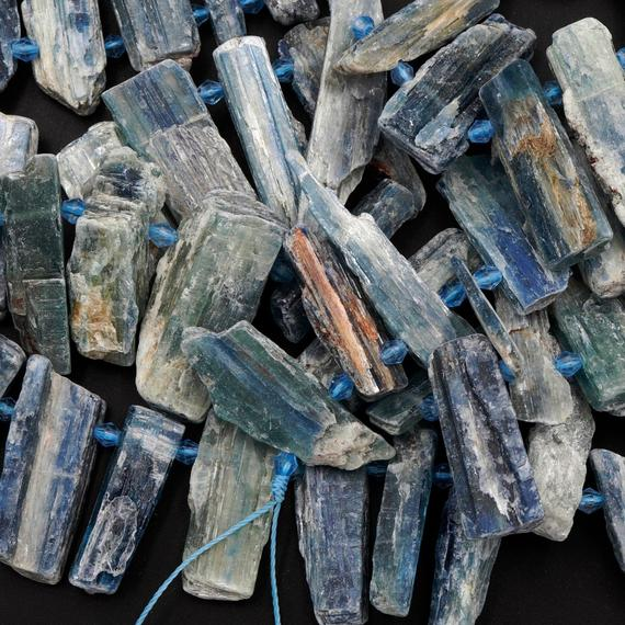 "Rough Raw Natural Bicolor Kyanite Beads Rare Blue Green Kyanite Unpolished Freeform Irregular Long Thick Spike Rectangle Gemstone 16"" Strand"