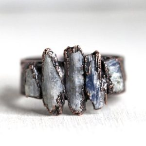 Shop Kyanite Jewelry! Raw Blue Kyanite Ring – Multi Stone Crystal Ring – Chakra Jewelry – Wide Band Ring – Unisex Ring | Natural genuine Kyanite jewelry. Buy crystal jewelry, handmade handcrafted artisan jewelry for women.  Unique handmade gift ideas. #jewelry #beadedjewelry #beadedjewelry #gift #shopping #handmadejewelry #fashion #style #product #jewelry #affiliate #ad