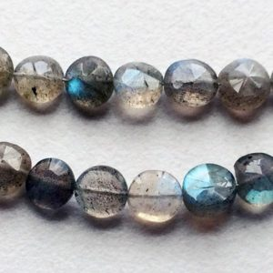 Shop Labradorite Faceted Beads! 6-7mmLabradorite Faceted Coin Beads, Natural Labradorite Straight Drill Faceted Coins, Flashy Blue Fire Gems, 8 Inch Labradorite For Jewelry | Natural genuine faceted Labradorite beads for beading and jewelry making.  #jewelry #beads #beadedjewelry #diyjewelry #jewelrymaking #beadstore #beading #affiliate #ad