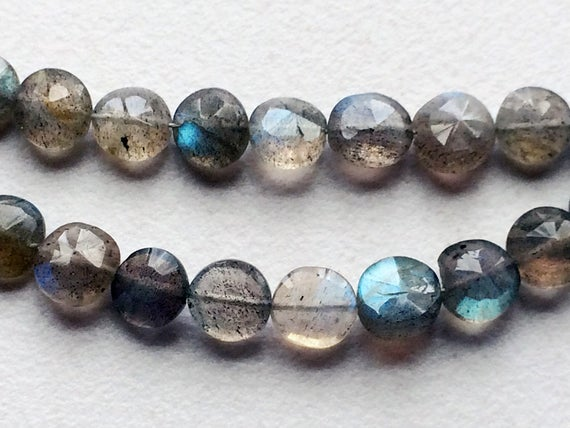6-7mmlabradorite Faceted Coin Beads, Natural Labradorite Straight Drill Faceted Coins, Flashy Blue Fire Gems, 8 Inch Labradorite For Jewelry