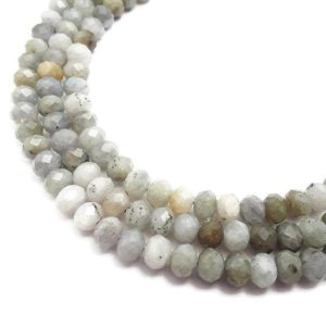 """Shop Labradorite Faceted Beads! Gray Labradorite Faceted Rondelle Beads Approx 5x8mm 15.5"""" Strand 