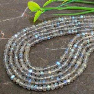 Shop Labradorite Faceted Beads! WHOLESALE! Natural Labradorite 4-4.5mm Micro Faceted Rondelle Gemstone Beads / Approx 130 pieces on 14 Inch long strand / JBC-ET-146269 | Natural genuine faceted Labradorite beads for beading and jewelry making.  #jewelry #beads #beadedjewelry #diyjewelry #jewelrymaking #beadstore #beading #affiliate #ad