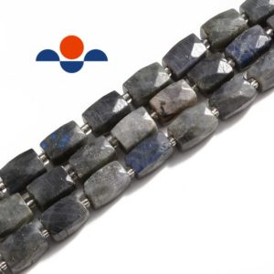 "Labradorite Faceted Rectangle Cylinder Drum Barrel Beads 12x16mm 15.5"" Strand 