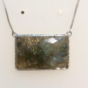 Shop Labradorite Pendants! Large Stone Necklace, Large Labradorite Silver Pendant Necklace, Gemstone Necklace, Statement Stone Necklace | Natural genuine Labradorite pendants. Buy crystal jewelry, handmade handcrafted artisan jewelry for women.  Unique handmade gift ideas. #jewelry #beadedpendants #beadedjewelry #gift #shopping #handmadejewelry #fashion #style #product #pendants #affiliate #ad