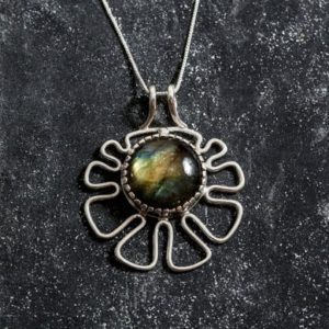 Shop Labradorite Pendants! Labradorite Pendant, Natural Labradorite, Flower Pendant, Solid Silver Pendant, Statement Pendant, Round Labradorite, Labradorite | Natural genuine Labradorite pendants. Buy crystal jewelry, handmade handcrafted artisan jewelry for women.  Unique handmade gift ideas. #jewelry #beadedpendants #beadedjewelry #gift #shopping #handmadejewelry #fashion #style #product #pendants #affiliate #ad