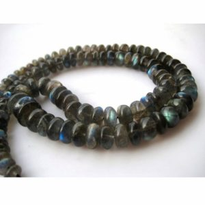 Shop Labradorite Rondelle Beads! 4.5mm To 6mm Labradorite Gemstone Plain Rondelle Beads, Blue Fire Gem Stone, Labradorite Rondelle Beads For Jewerly, (4.5IN To 9IN Options) | Natural genuine rondelle Labradorite beads for beading and jewelry making.  #jewelry #beads #beadedjewelry #diyjewelry #jewelrymaking #beadstore #beading #affiliate #ad