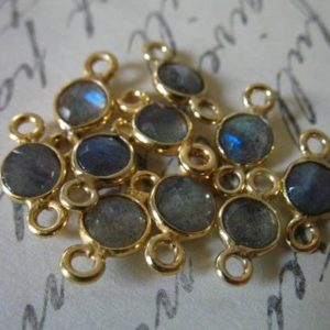 Shop Labradorite Beads! 5 Pcs / Labradorite Pendant Charm Gemstone Link Connector, Gem Stone, 24k Gold Vermeil Bezel, 12×7 Mm, Tiny Round Gem, Flashes Of Blue Gcl5 | Natural genuine beads Labradorite beads for beading and jewelry making.  #jewelry #beads #beadedjewelry #diyjewelry #jewelrymaking #beadstore #beading #affiliate #ad