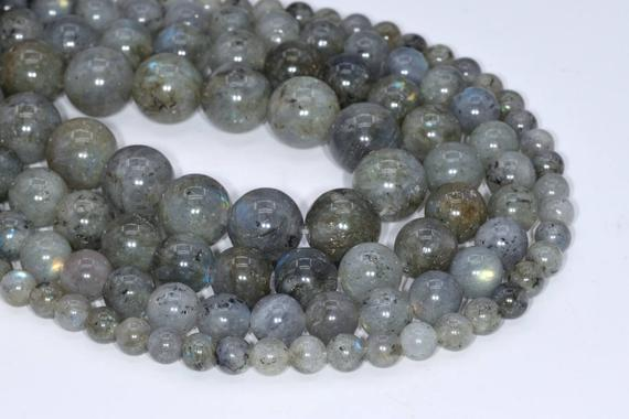 Genuine Natural Light Gray Labradorite Loose Beads Grade A Round Shape 6mm 8mm 10mm 12mm