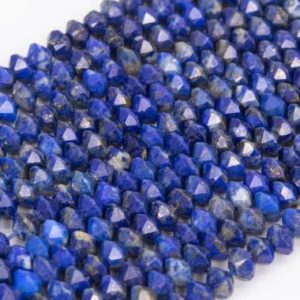 Shop Lapis Lazuli Faceted Beads! Genuine Natural Deep Blue Lapis Lazuli Loose Beads Grade AA Faceted Rondelle Shape 4x3mm | Natural genuine faceted Lapis Lazuli beads for beading and jewelry making.  #jewelry #beads #beadedjewelry #diyjewelry #jewelrymaking #beadstore #beading #affiliate #ad