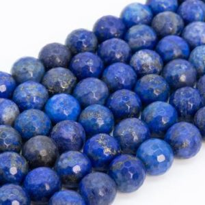 Shop Lapis Lazuli Faceted Beads! Natural Lapis Lazuli Loose Beads Grade A Micro Faceted Round Shape 6mm 8mm 10mm | Natural genuine faceted Lapis Lazuli beads for beading and jewelry making.  #jewelry #beads #beadedjewelry #diyjewelry #jewelrymaking #beadstore #beading #affiliate #ad
