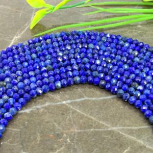 Shop Lapis Lazuli Faceted Beads! WHOLESALE! Natural Lapis Lazuli 3-3.5mm Micro Faceted Rondelle Gemstone Beads / Approx 130 pieces on 14 Inch long strand / JBC-ET-147612 | Natural genuine faceted Lapis Lazuli beads for beading and jewelry making.  #jewelry #beads #beadedjewelry #diyjewelry #jewelrymaking #beadstore #beading #affiliate #ad