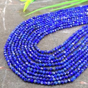 Shop Lapis Lazuli Faceted Beads! WHOLESALE! Natural Lapis Lazuli 2-2.5mm Micro Faceted Rondelle Gemstone Beads / Approx 160 pieces on 14 Inch long strand / JBC-ET-147506 | Natural genuine faceted Lapis Lazuli beads for beading and jewelry making.  #jewelry #beads #beadedjewelry #diyjewelry #jewelrymaking #beadstore #beading #affiliate #ad