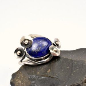 Shop Lapis Lazuli Rings! Large Lapis Ring In Sterling Silver, Oval Blue Lapis Lazuli Gemstone Statement Ring Size 7.5 – Poppy Flower Stone Ring, Lapis Jewelry | Natural genuine Lapis Lazuli rings, simple unique handcrafted gemstone rings. #rings #jewelry #shopping #gift #handmade #fashion #style #affiliate #ad