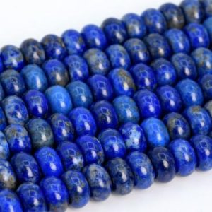 Shop Lapis Lazuli Rondelle Beads! Genuine Natural Lapis Lazuli Loose Beads Grade A Rondelle Shape 6x4mm 8x5mm | Natural genuine rondelle Lapis Lazuli beads for beading and jewelry making.  #jewelry #beads #beadedjewelry #diyjewelry #jewelrymaking #beadstore #beading #affiliate #ad