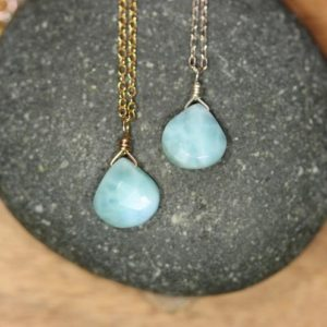 Shop Larimar Necklaces! Larimar necklace, blue stone drop necklace, something blue wedding, delicate healing crystal, throat chakra stone | Natural genuine Larimar necklaces. Buy handcrafted artisan wedding jewelry.  Unique handmade bridal jewelry gift ideas. #jewelry #beadednecklaces #gift #crystaljewelry #shopping #handmadejewelry #wedding #bridal #necklaces #affiliate #ad